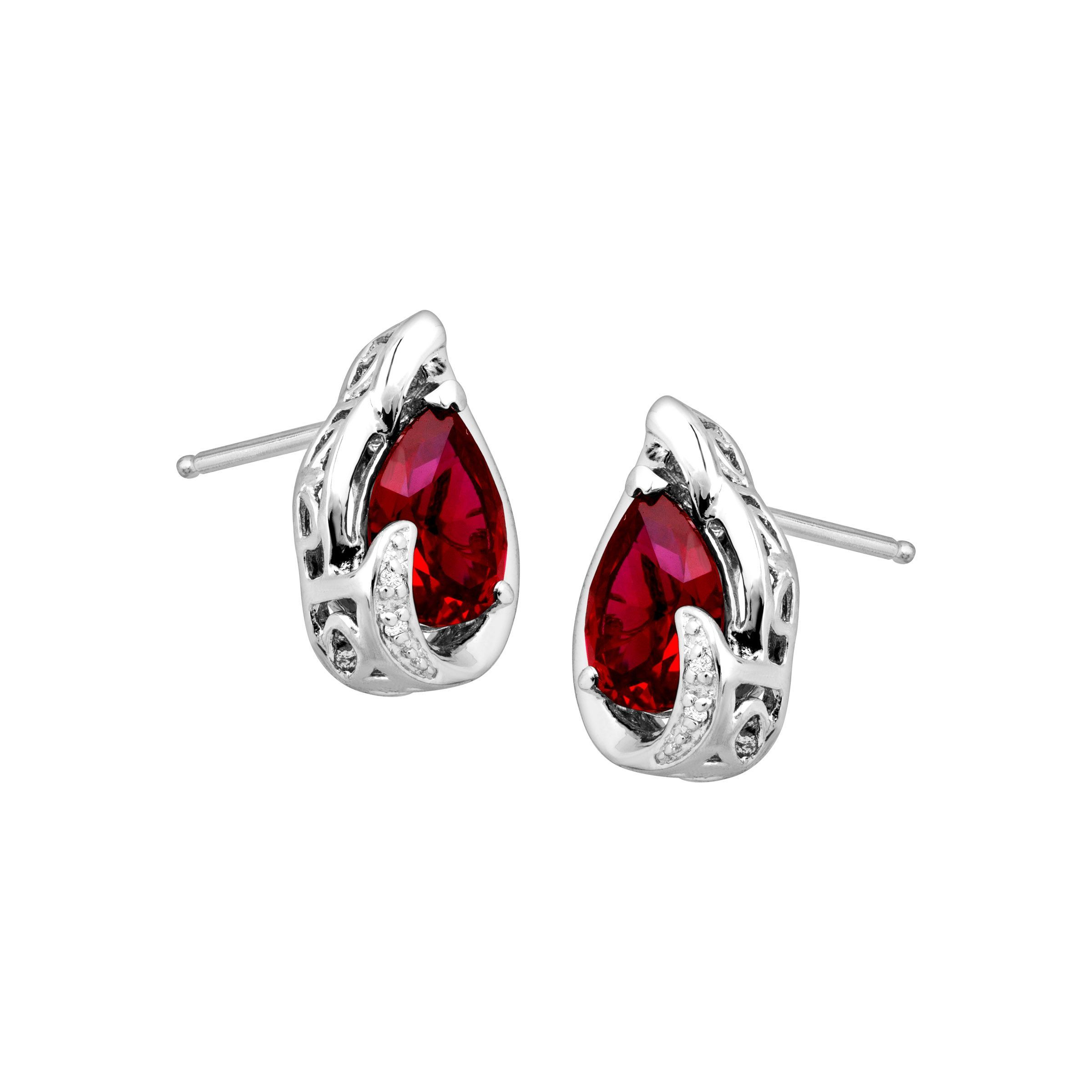 birthday gemstone gift gem july everyday red traditional simple stud silver earrings womens rubies birthstone ruby products earring sterling earrin collage