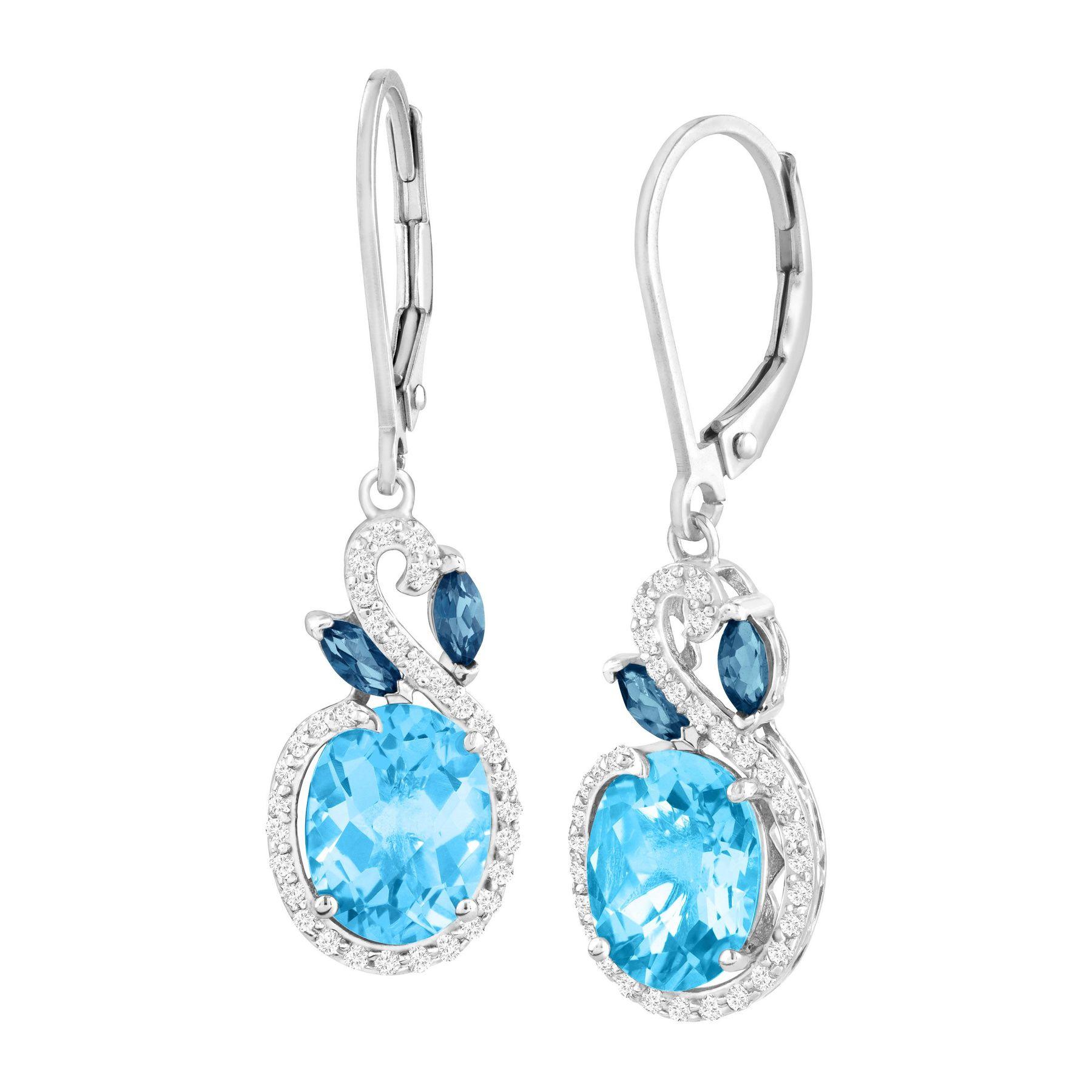 5 3 8 Ct Natural London Swiss Blue White Topaz Drop Earrings In Sterling Silver