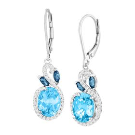 5 3/8 ct London, Swiss Blue & White Topaz Earrings