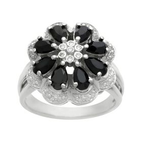 7/8 ct Onyx Cocktail Ring with Diamonds