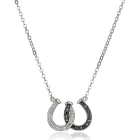 1/8 ct Black & White Diamond Double Horseshoe Pendant