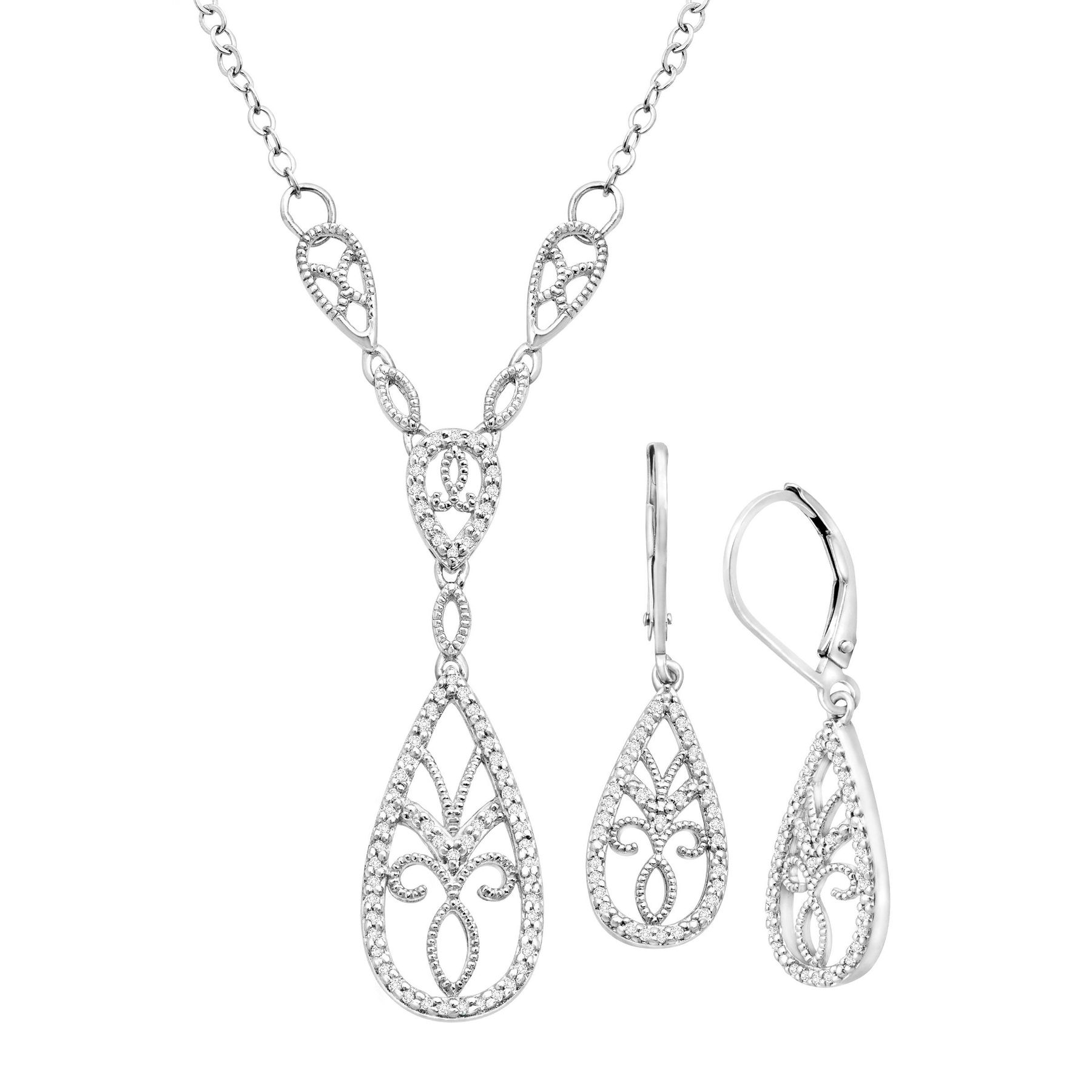 1 3 Ct Diamond Necklace Earring Set