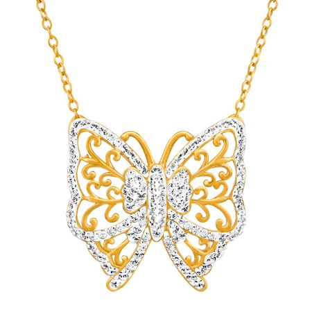 ea582b5616a5b Crystaluxe Butterfly Necklace with Swarovski Crystals in 18K Gold-Plated  Sterling Silver