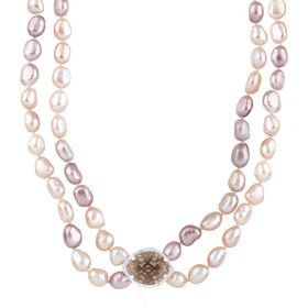 Smokey Quartz & Pink Pearl Necklace with Diamonds