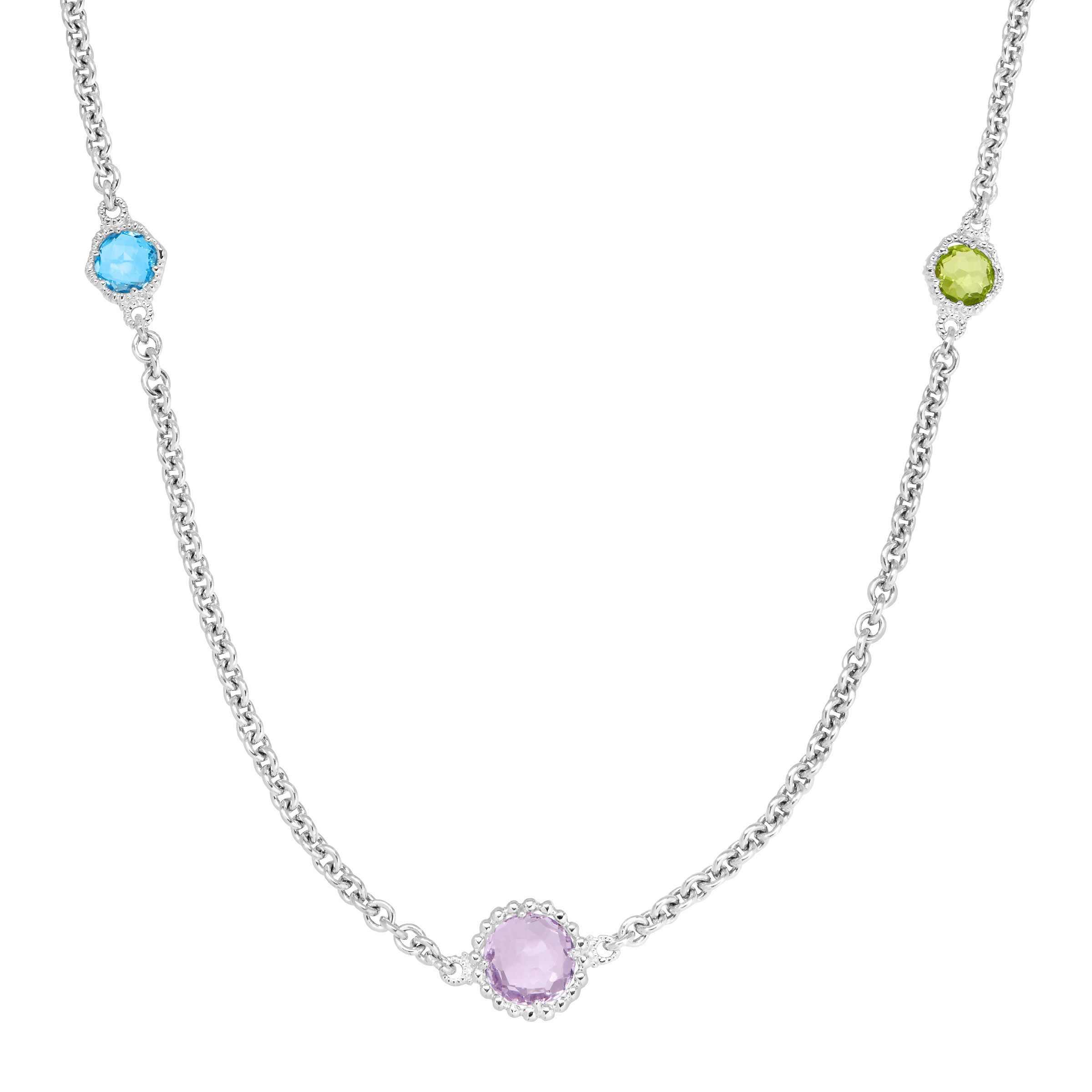 flower station necklace with 4 7 8 ct natural multi gems in sterling