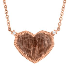 5 ct Quartz Heart Necklace with Diamonds