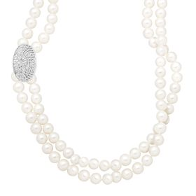 6-6.5 mm Pearl Double Strand Necklace with Swarovski Crystals