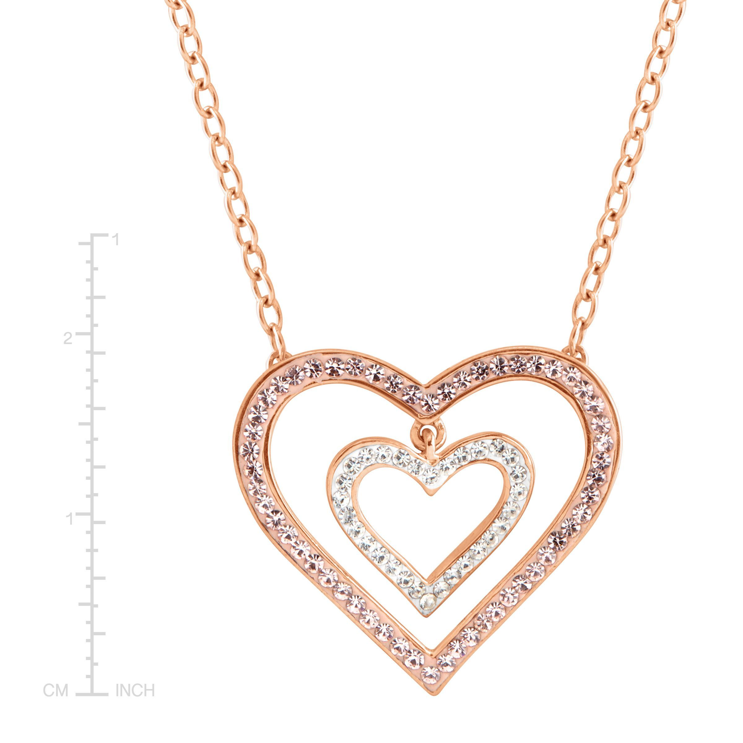 ec209774d35d0 Details about Crystaluxe Heart Necklace with Swarovski Crystals in 18K Rose  Gold-Plated Silver