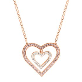 Concentric Heart Necklace with Swarovski Crystals