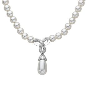 Drop Necklace with Swarovski Crystals & Pearls