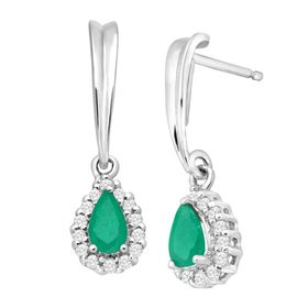 5/8 ct Emerald & White Sapphire Drop Earrings