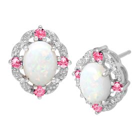 1 1/2 ct Opal & Pink Sapphire Earrings with Diamonds