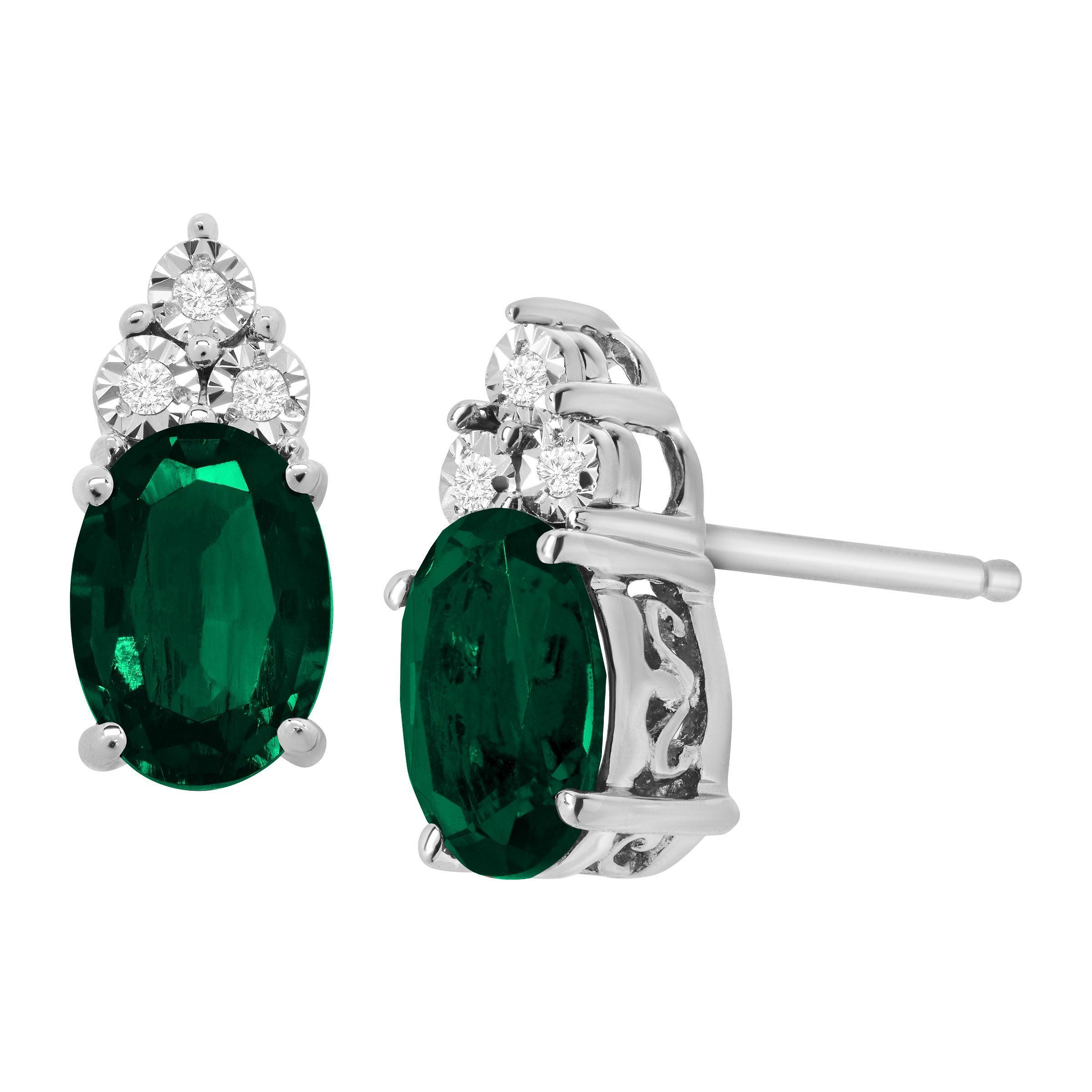 white earrings gold oval emerald borsheims diamond