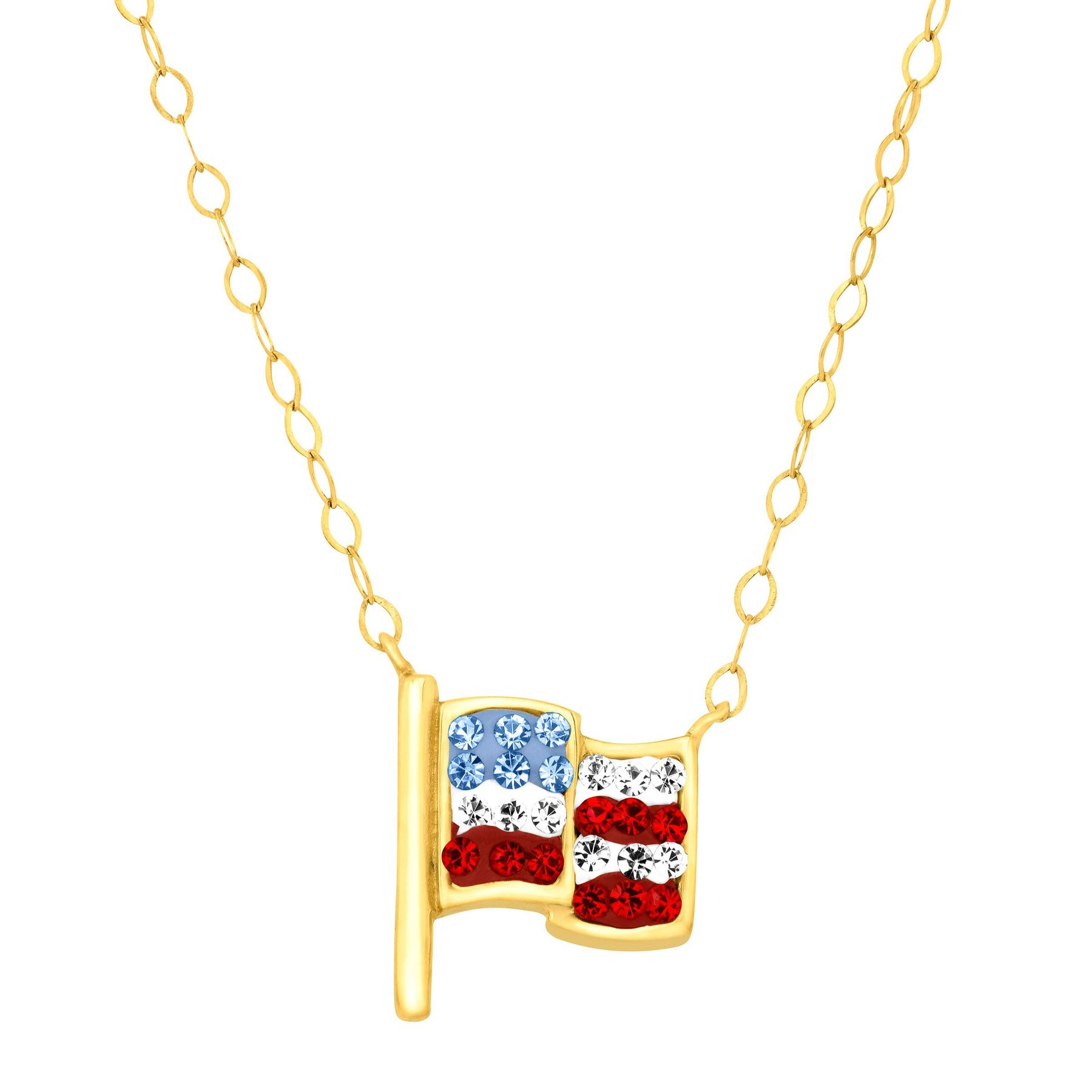 necklace yellow hot plated necklaces american for pendant product men chunky fashion silver wholesale gold flag friends gift women