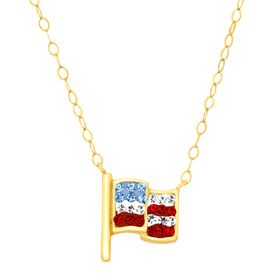 Teeny Tiny American Flag Necklace with Swarovski Crystals
