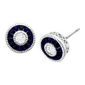 1 5/8 ct Blue & White Sapphire Radial Stud Earrings
