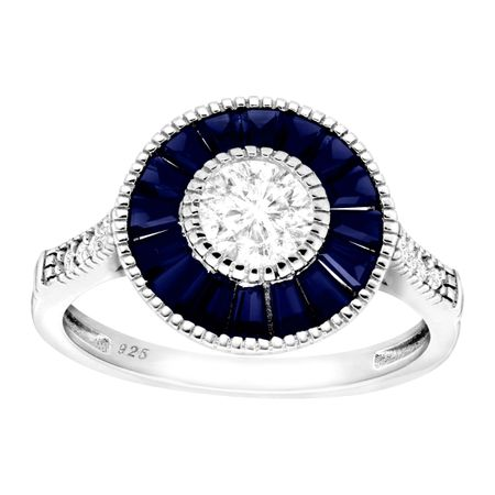 1 5/8 ct Blue & White Sapphire Radial Ring