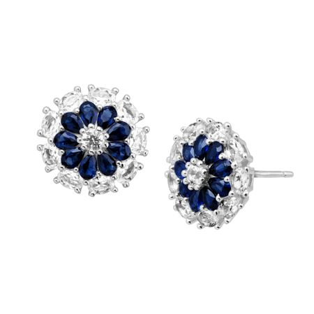 7/8 ct Blue & White Sapphire Flower Earrings
