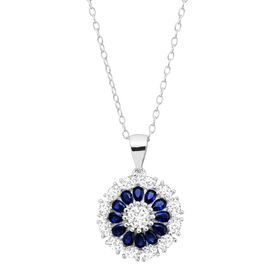 7/8 ct Blue & White Sapphire Flower Medallion Pendant