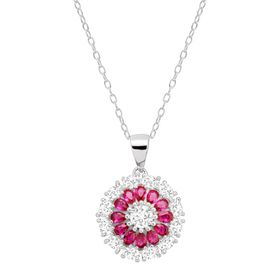7/8 ct Ruby & White Sapphire Flower Pendant