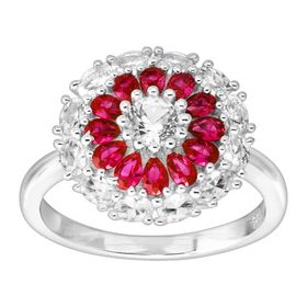 7/8 ct Ruby & White Sapphire Flower Ring