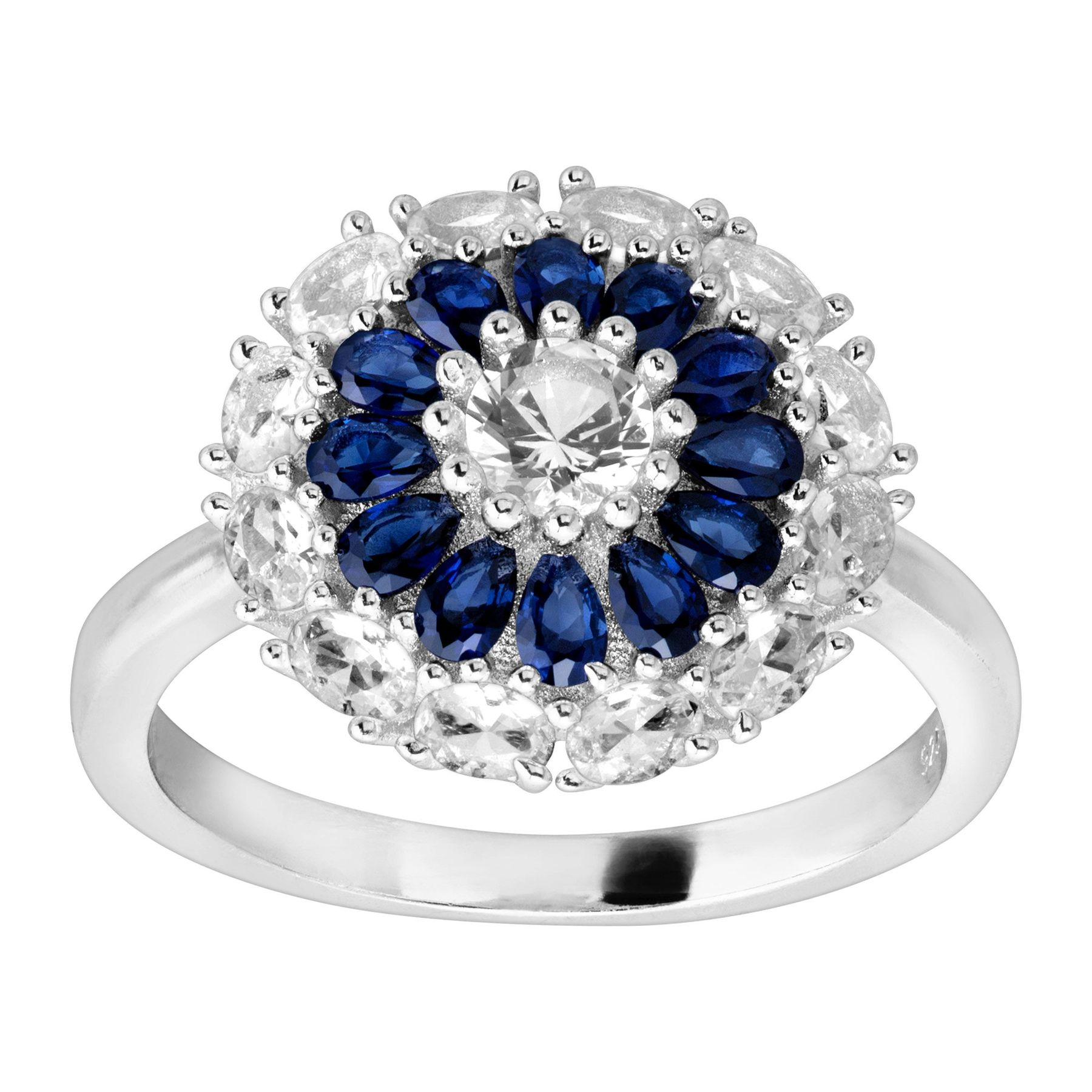 78 Ct Created Blue White Sapphire Flower Ring In Sterling Silver
