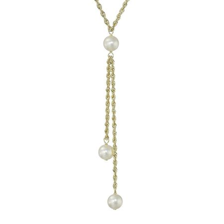 6-7 mm Graduated Pearl Lariat Necklace