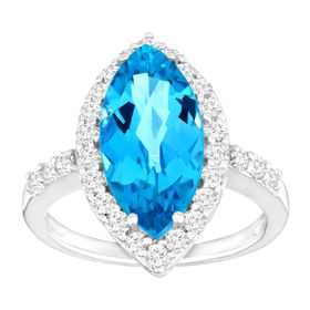 5 3/4 ct Swiss Blue & White Topaz Ring