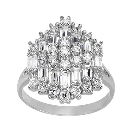 Cluster Ring with Cubic Zirconia