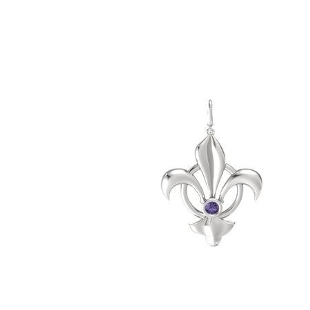 Fleur De Lis Circle Charm With Gem