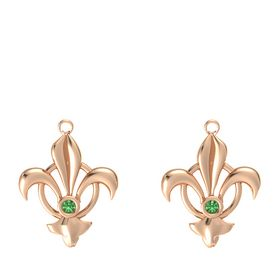 14K Rose Gold Earrings with Emerald