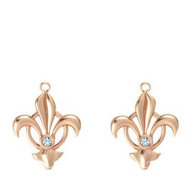 14K Rose Gold Earrings with Aquamarine