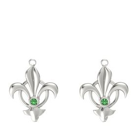 14K White Gold Earring with Emerald