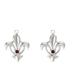 14K White Gold Earrings with Red Garnet