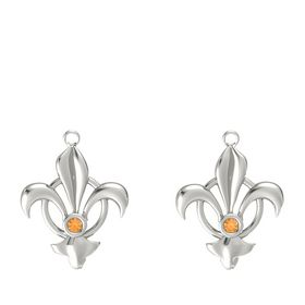 14K White Gold Earring with Citrine