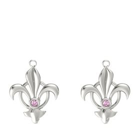 14K White Gold Earring with Pink Sapphire