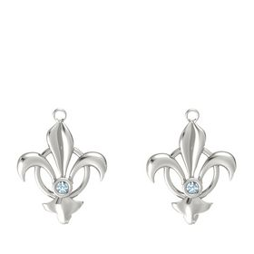 14K White Gold Earring with Aquamarine