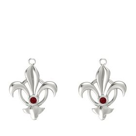 14K White Gold Earrings with Ruby