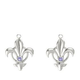 14K White Gold Earring with Iolite