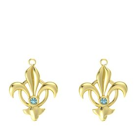 14K Yellow Gold Earring with London Blue Topaz