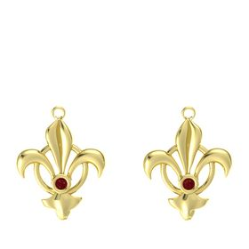 14K Yellow Gold Earring with Ruby