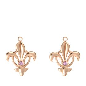 18K Rose Gold Earrings with Pink Sapphire