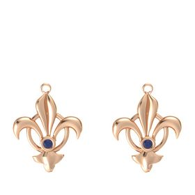 18K Rose Gold Earring with Blue Sapphire