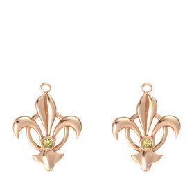 18K Rose Gold Earring with Yellow Sapphire