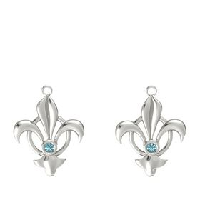 18K White Gold Earring with London Blue Topaz