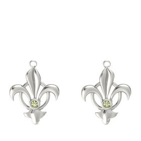 18K White Gold Earrings with Peridot