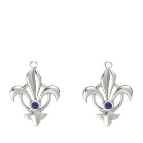 18K White Gold Earring with Blue Sapphire