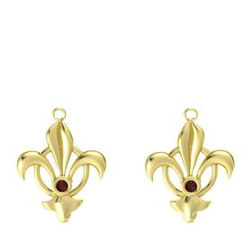 18K Yellow Gold Earring with Red Garnet
