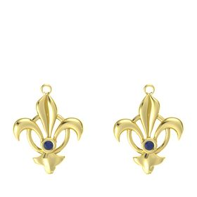 18K Yellow Gold Earring with Blue Sapphire
