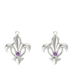 Platinum Earrings with Amethyst